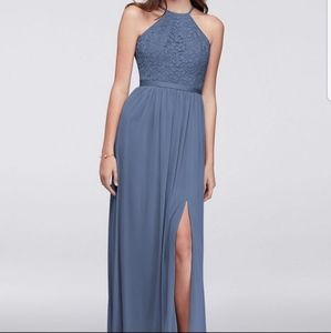 David's Bridal Steel Blue Bridesmaid Dress